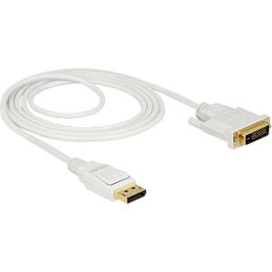 Delock Kabel DP 1.2 Stecker > DVI 24+1 Stecker, weiß, 2 m DELOCK 83814