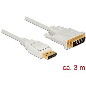 Delock Kabel DP 1.2 Stecker > DVI 24+1 Stecker, weiß, 3 m DELOCK 83815