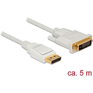 Delock Kabel DP 1.2 Stecker > DVI 24+1 Stecker, weiß, 5 m DELOCK 83816