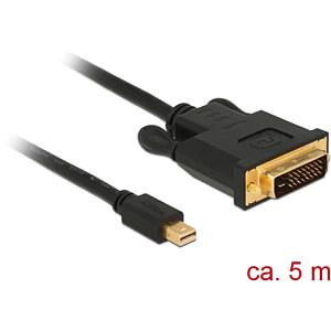 Delock Kabel miniDP 1.1 Stecker > DVI 24+1 Stecker, schwarz, 5 m DELOCK 83991