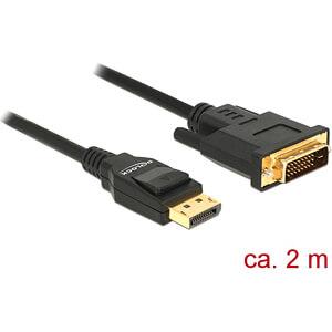 Delock Kabel DP 1.2 Stecker > DVI 24+1 Stecker, schwarz, 2 m DELOCK 85313