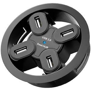 Desk HUB 4-Port, 80mm, schwarz FREI 93895