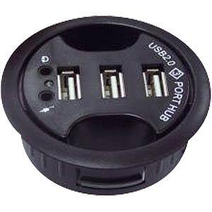 inDesk HUB 3-Port, mit Audio, 60mm schwarz FREI