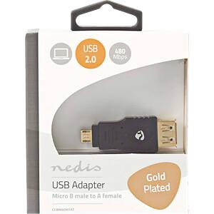 USB 2.0 Adapter, Micro-B-Stecker > A-Buchse NEDIS CCBW60901AT