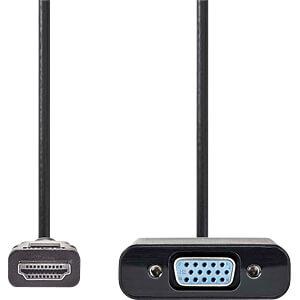Kabel, HDMI-Stecker > VGA-Buchse + 3,5-mm-Ausgang, 0,2 m NEDIS CCGP34900BK02