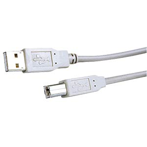 USB 2.0 cable, Hi-Speed A connector to B connector, 3 m FREI