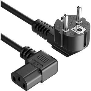 PURE NK2000-010R - Schutzkontakt Stecker 90° > IEC Buchse (C13) Schwarz 1,0m