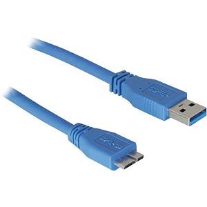 USB3 cable,A plug>B micro plug, 2.0m, blue FREI
