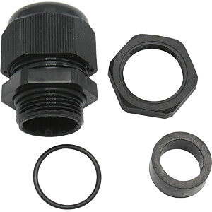 Cable gland, M16 x 1,5, black RAL 9005 RND COMPONENTS