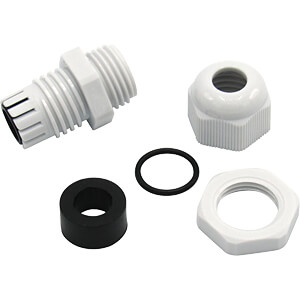 Cable gland, M12 x 1,5, grey, RAL 7035 RND COMPONENTS