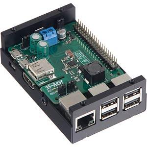 Gehäuse für Raspberry Pi 3 & StromPi 3, Alu, schwarz JOY-IT RB-STROMPI2