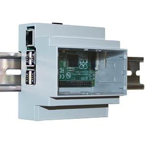 Gehäuse für Raspberry Pi 3, Hutschiene, grau/trans. CAMDENBOSS CBRPP-DR-CLR