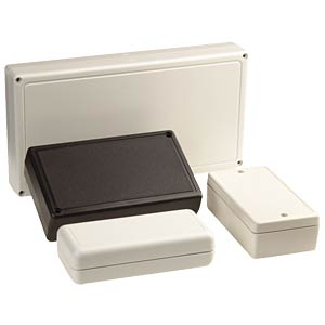 ABS case enclosure, 85 x 65 x 28 mm, black STRAPUBOX