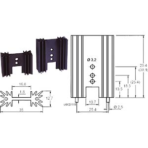 V PR32/25,4 - Spezial-Kühlkörper, 25,4x35,0x12,7mm, 14K/W