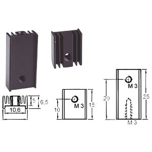 V PR5/15-M3 - Spezial-Kühlkörper, 15x12x6,5mm, 36K/W