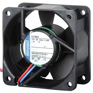 Axial fan, 12V DC, 60 x 60 x 25 mm, rpm: 5100 EBM-PAPST 612NGN