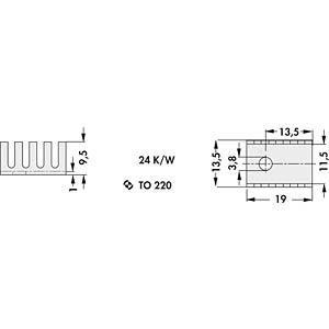 Finger-shaped heat sink, TO-220 FISCHER ELEKTRONIK FK 231 SA 220