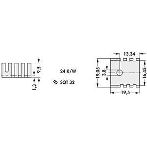 Fingerkühlkörper, SOT32, 20x19x9 mm, 24K/W FISCHER ELEKTRONIK FK 239 SA 32