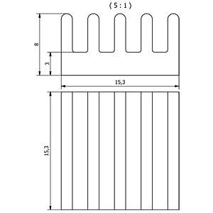 Kühlkörper SMD 15,3 x8,0x 15,3mm, Boden 3mm FISCHER ELEKTRONIK 10037153