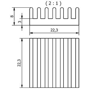 Heat sink SMD 22.3 x 8.0 x 22.3 mm, base 3mm FISCHER ELEKTRONIK 10037154