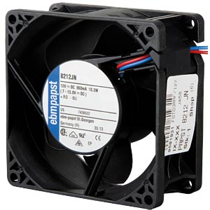 Axial fan, 12V DC, 80 x 80 x 38 mm, rpm: 8400 EBM-PAPST 929 2910 002