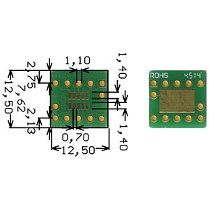 SOT 23-10 adapter 0.95-mm pitch RM 2.54mm ROTH-ELEKTRONIK RE907