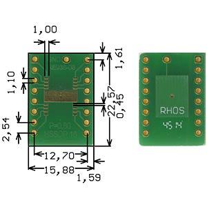 Adapter HSSOP16 P=0.80mm RM 2.54mm ROTH-ELEKTRONIK RE938-03