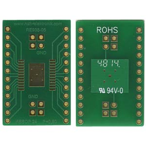 Adapter HSSOP24 P=0,80 mm RM 2,54 mm ROTH-ELEKTRONIK RE938-05