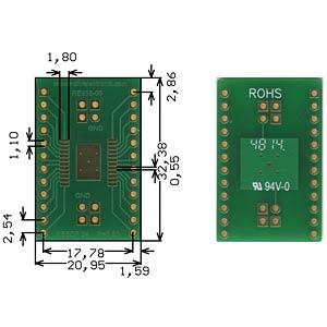 Adapter HSSOP24 P=0,80 mm RM 2,54 mm ROTH-ELEKTRONIK RE938-05