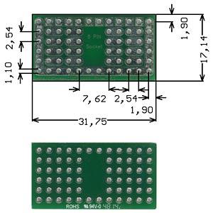Solderable breadboard, 8-pin socket 31.75 x 17.14mm ROTH-ELEKTRONIK RE941-S1