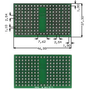 Solderable breadboard, 16-pin socket 46.99 x 27.30 mm ROTH-ELEKTRONIK RE943-S2