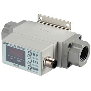 Flow switch 50 - 500 l/min, output: 2x PNP, air SMC PNEUMATIK