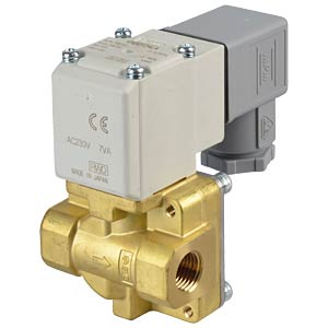 Process valve 2/2 for air/water, NC, 230 VAC, brass, G1/4 SMC PNEUMATIK