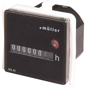Operating hours counter for panel mounting 12-48V HUGO MÜLLER BG 40.17