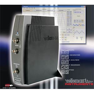 2-channel USB PC oscilloscope with generator VELLEMAN PCSGU250