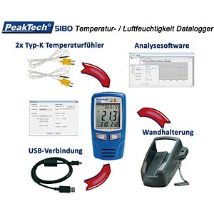 Temp. and Humidity Data Logger PEAKTECH P 5180