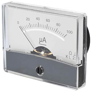 Moving coil meter, 100 µA, W: 60 mm, H: 47 mm FREI