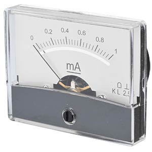 Moving coil meter, 1.0 mA, W: 60 mm, H: 47 mm FREI