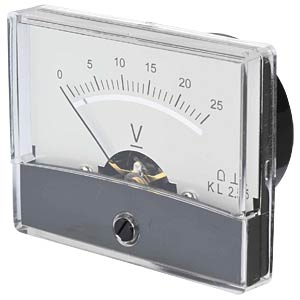 Moving coil meter, 25 V, W: 60 mm, H: 47 mm FREI