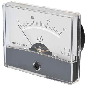 Moving coil meter, 30 µA, W: 60 mm, H: 47 mm FREI