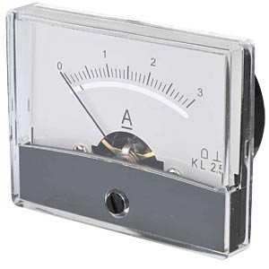 Moving coil meter, 3.0 A, W: 60 mm, H: 47 mm FREI