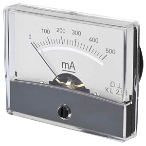 Moving coil meter, 500 mA, W: 60 mm, H: 47 mm FREI