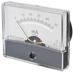 Moving coil meter, 50 mA, W: 60 mm, H: 47 mm FREI