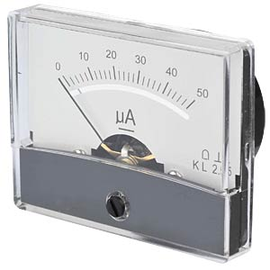 Moving coil meter, 50 µA, W: 60 mm, H: 46 mm FREI