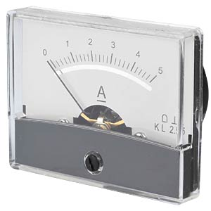 Moving coil meter, 5.0 A, W: 60 mm, H: 47 mm FREI