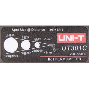 12:1 Infrarot-Thermometer -18°C bis 550°C, USB UNI-TREND UT301C