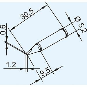 Soldering tip for ERSA I-TOOL, chisel/1.2 mm ERSA 0102CDLF12/SB