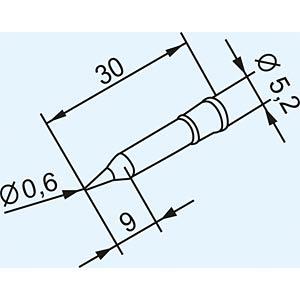 Lötspitze 0102PDLF06, 0,6 mm, bleistiftförmig, gerade ERSA 0102PDLF06/SB