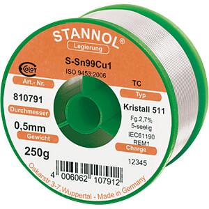 Lötzinn bleifrei mit Kupferanteil,Ø 0,5 mm, 250 g STANNOL 810791