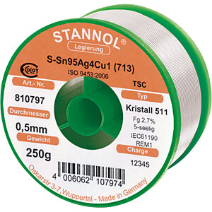 Kristall 511 TSC Sn95 Sn95 Ag4, 0,5 mm Ø 250 g STANNOL 810797